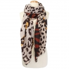 CS9241 Animal Print Oblong Scarf, Brown